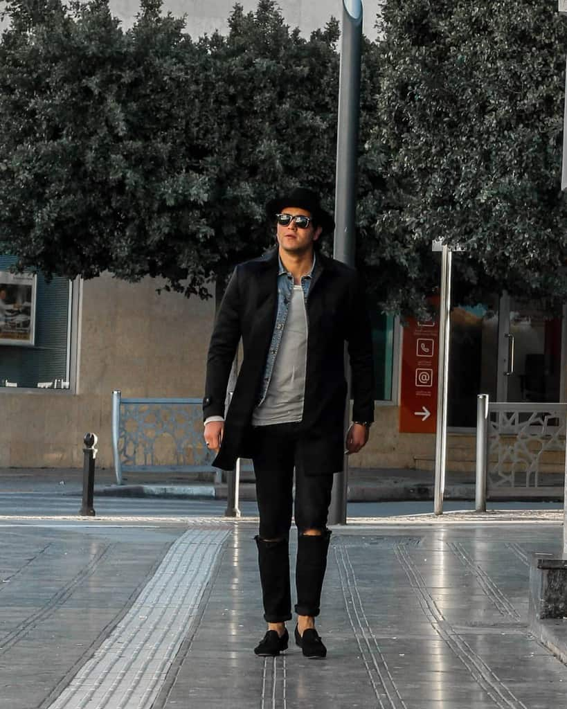 Black Coat And Pants Street Style