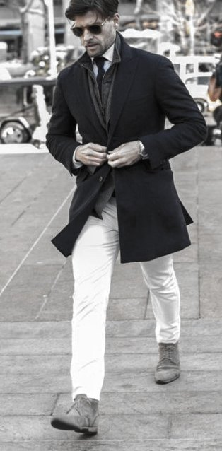 Black Coat Grey Shoes Winter Season What To Wear With White Jeans Mens Style Ideas