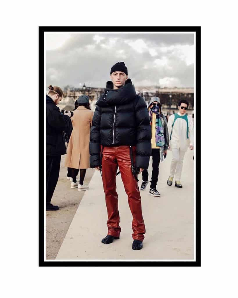 Black Coat Leather Red Pants Fashion