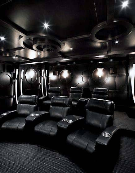 black color themed home theater designs - Home Theater Design Ideas