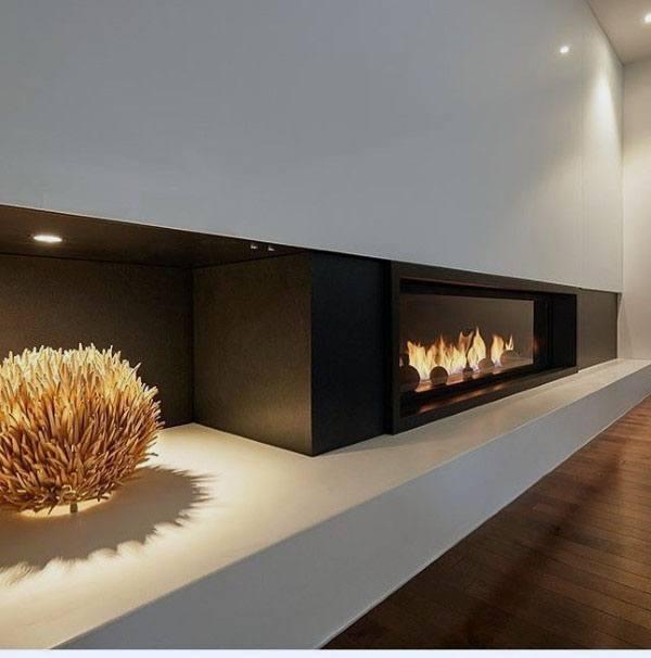 Black Concrete Fireplace Design
