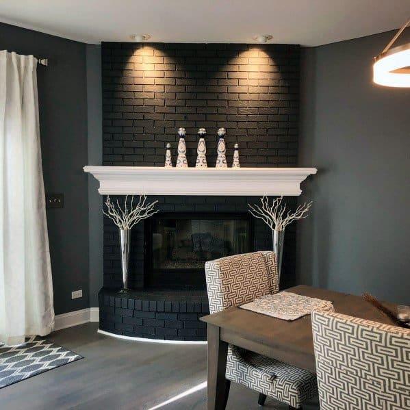 Black Corner Painted Fireplace Ideas