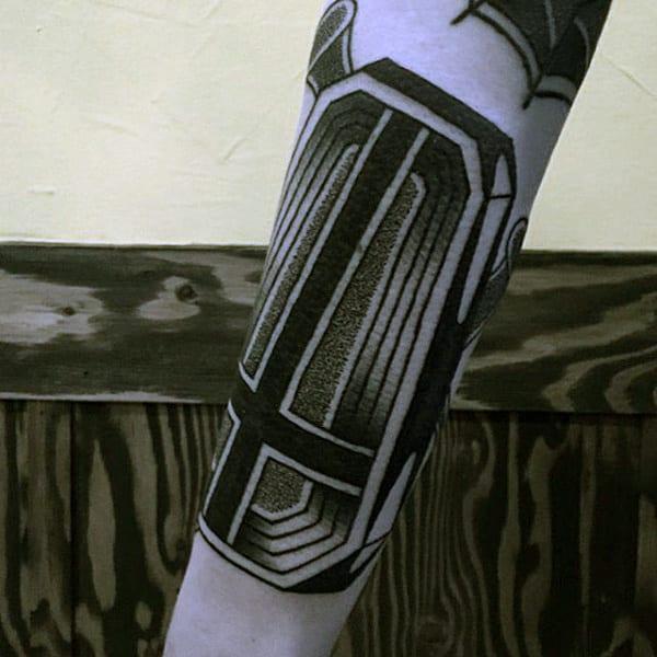 Black Cross Mens Coffin Tattoos On Arm