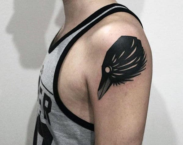 Black Crow Awesome Mens Upper Arm Tattoos