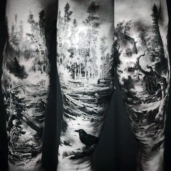 100 forest tattoo designs for men masculine tree ink ideas. Black Bedroom Furniture Sets. Home Design Ideas