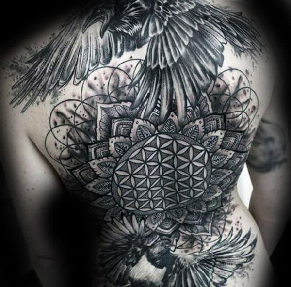 Black Crow Male Flower Of Life Back Tattoos