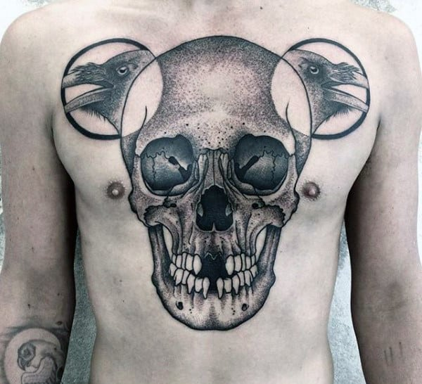 Black Crow Mens Detailed Large Skull Tattoo On Chest