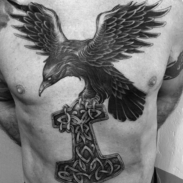 Black Crow With Celtic Knot Hammer Mens Chest Tattoos