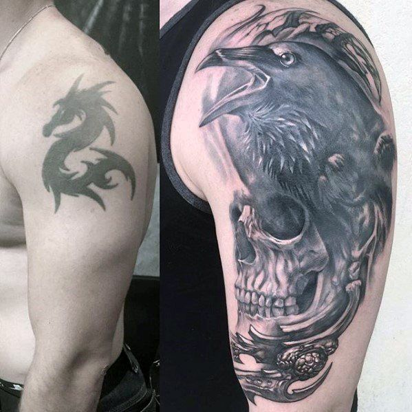 Black Crow With Skull Arm Cover Up Male Tattoos