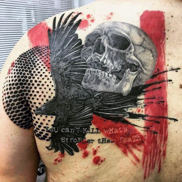 Black Crow With Skull Trash Polka Mens Shoulder Blade Tattoos
