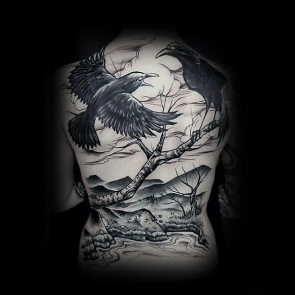 Black Crows In Tree Landscape Full Back Tattoos For Men