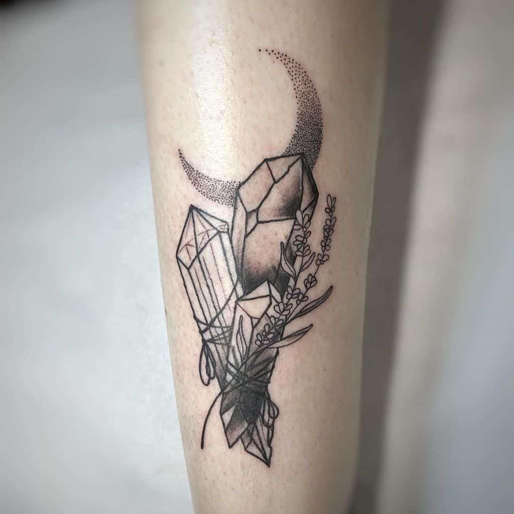 Black Crystal Moon Lavander Tattoo