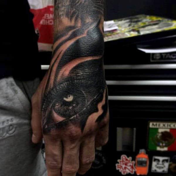 Black Dark Eye Tattoo Mans Hands