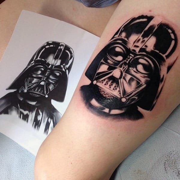 Black Darth Vader Tattoo Male Forearms