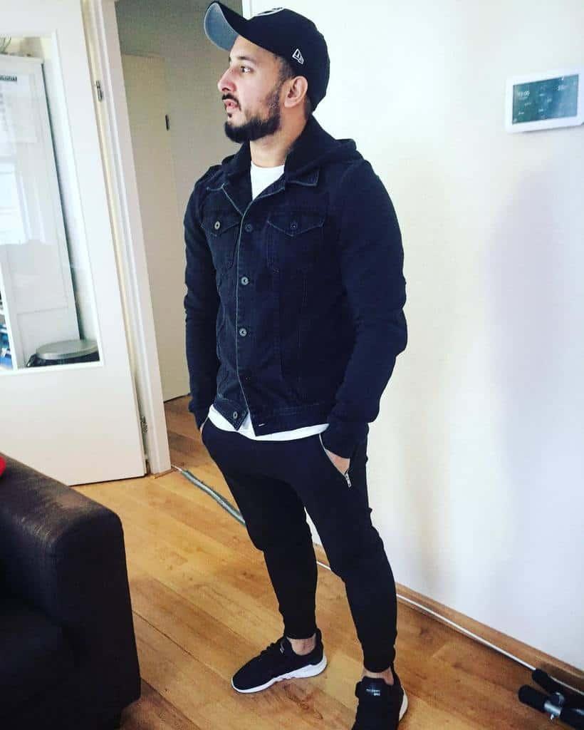 Tenue de veste en jean noire