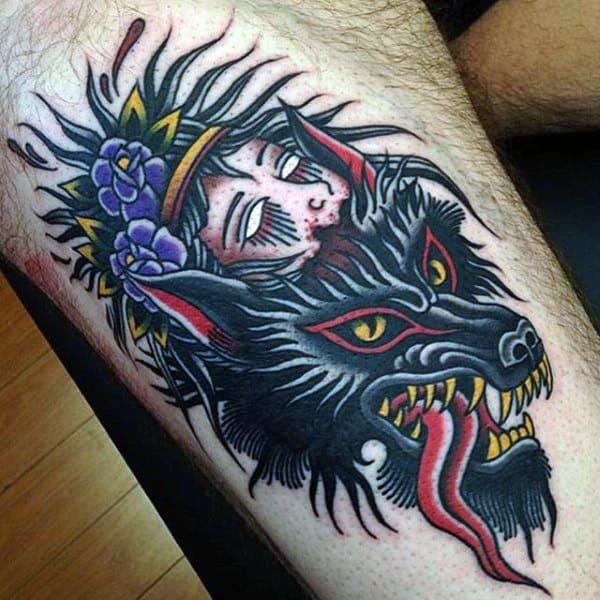 Tatuaje en el antebrazo, diablo negro y cabeza
