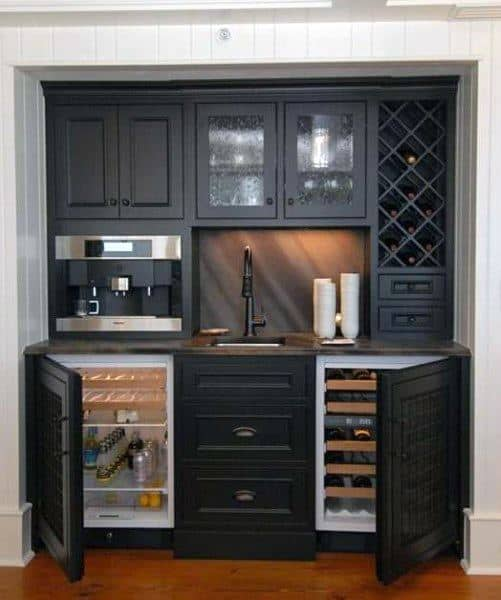 Black Double Wine Coolers Wet Bar