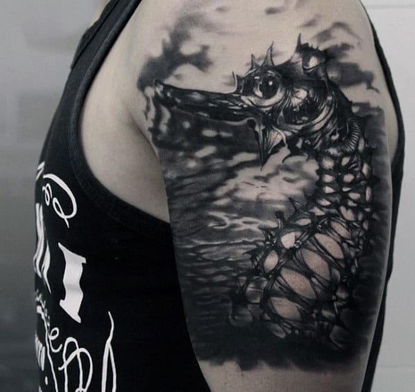 Black Dragon With Spikes Quarter Sleeve Tattoo For Men