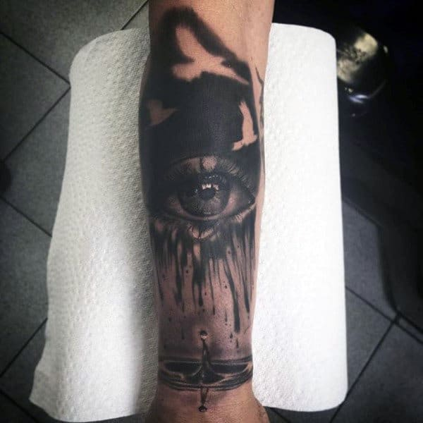 Black Eye With Rippled Water Tattoo Mens Forearm