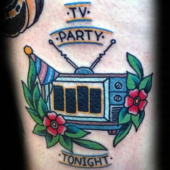Black Flag Thigh Tattoo Designs For Guys