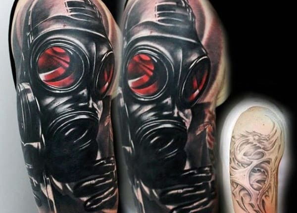 Black Gas Mask With Red Lenses Tattoo For Men On Arm Cover Up