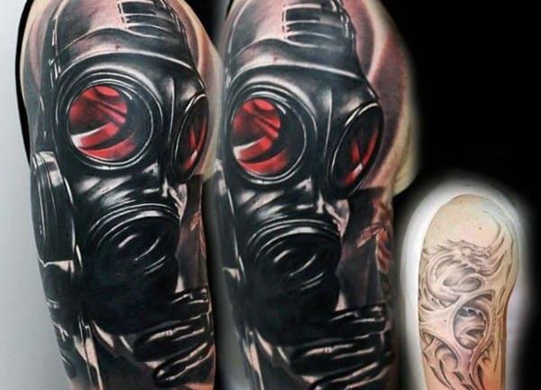 10 intimidating gas mask tattoo designs. Black Bedroom Furniture Sets. Home Design Ideas