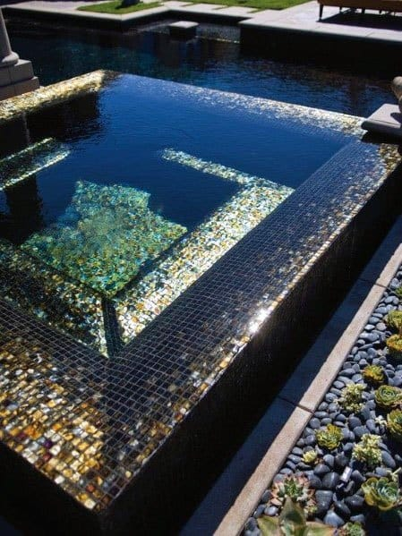 Black Glass Pool Tile Ideas Mosaic Iridescent
