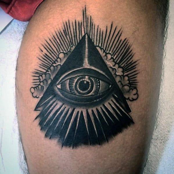 Black Glowing All Seeing Eye Mens Traditional Leg Tattoos