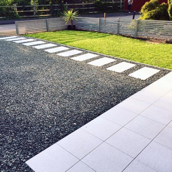 Black Gravel Driveway Ideas With Concrete Stepping Stones