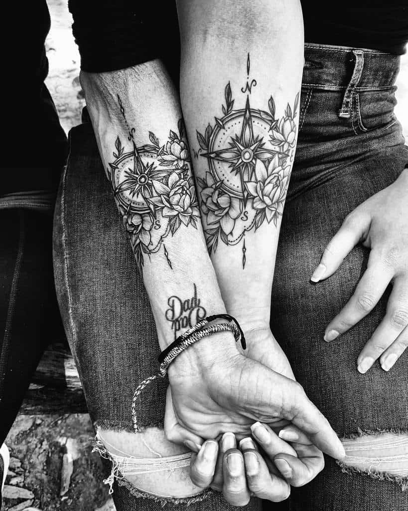 Black gray lotus flower compass mother daughter tattoo