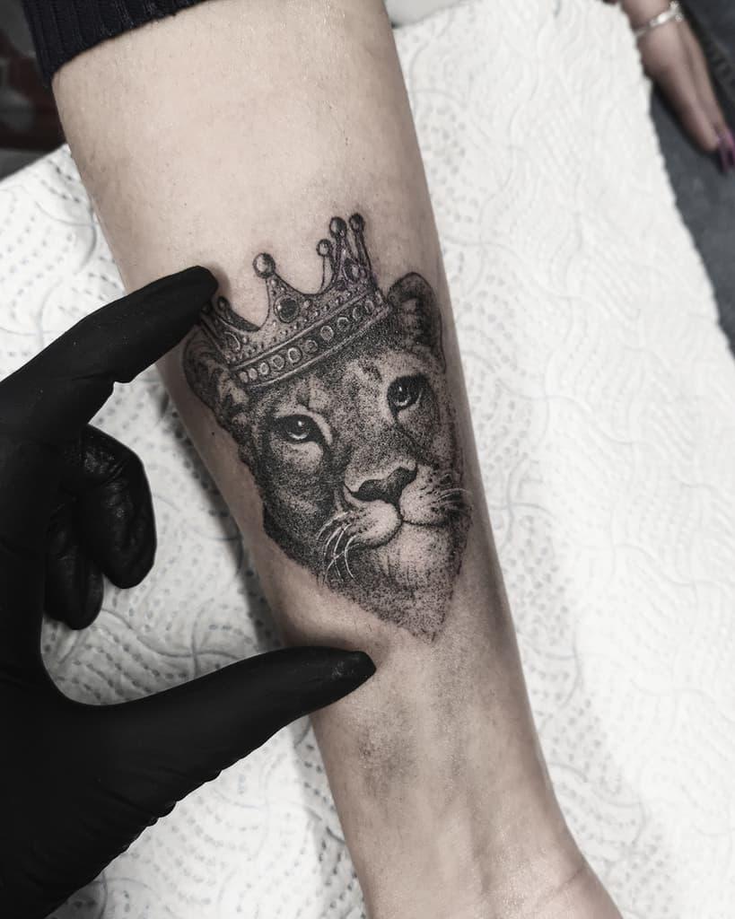 Black Gray Love Lion Whip Shading Tattoo