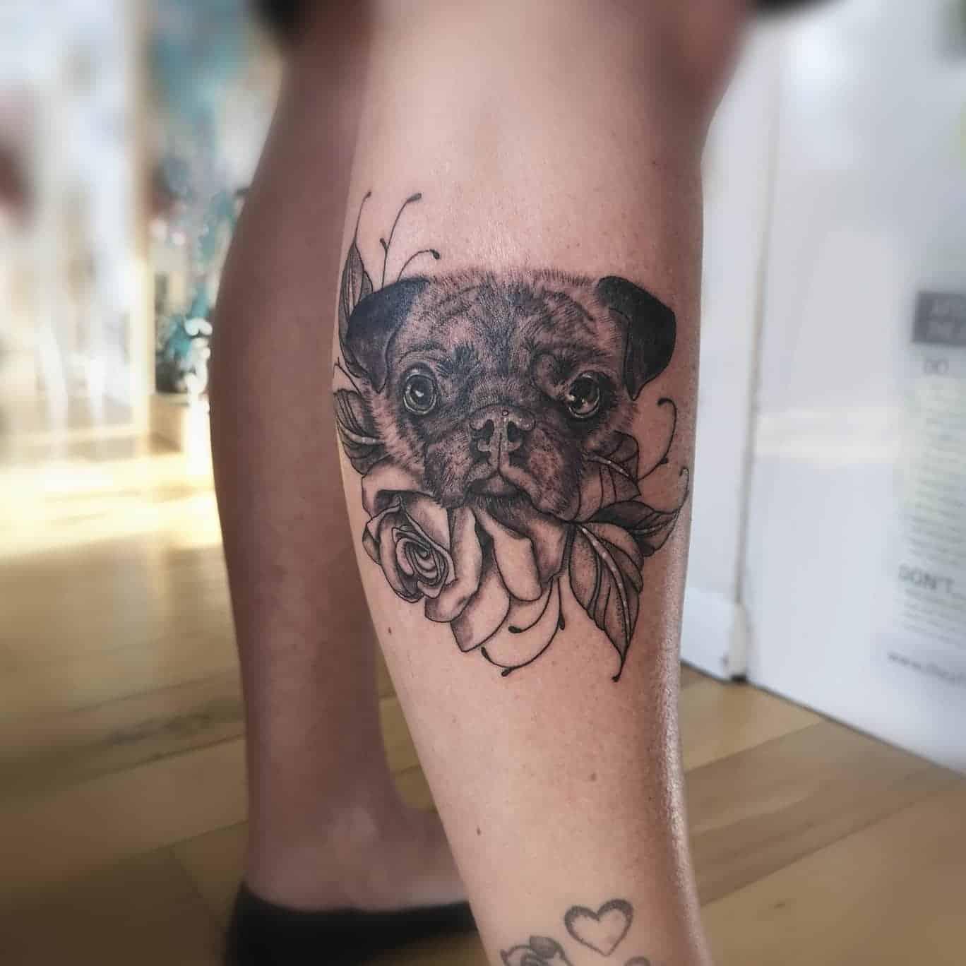 Black Gray Pug Tattoo Inkscapetattoo