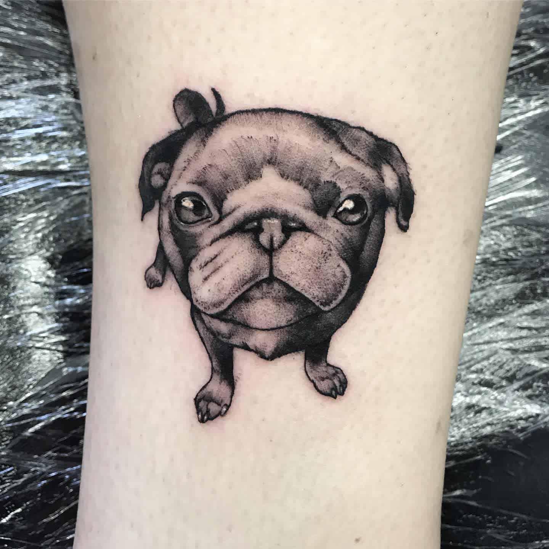 Black Gray Pug Tattoo Lstark Tattoos