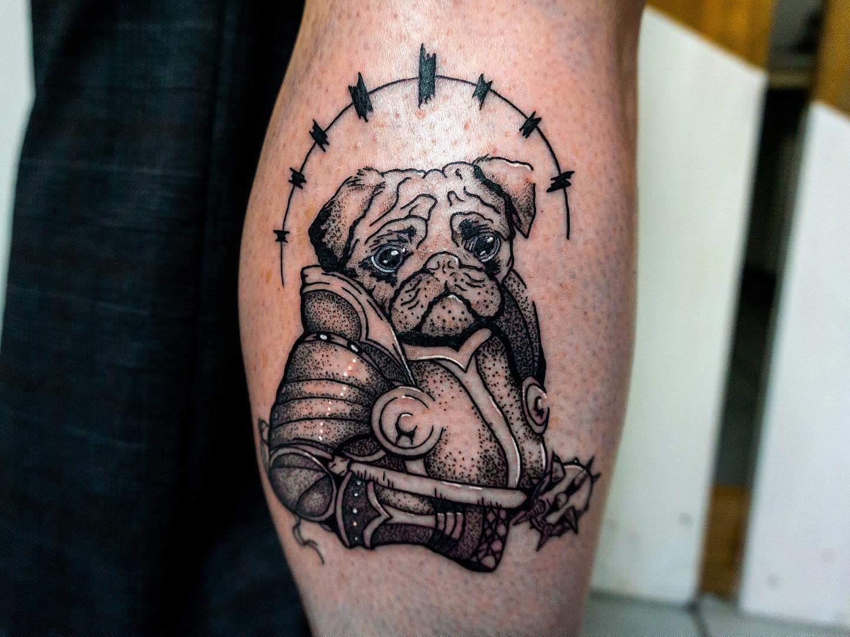 Black Gray Pug Tattoo Matovyvlk
