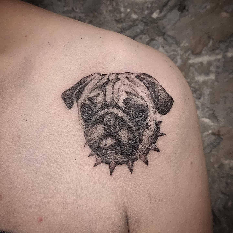 Black Gray Pug Tattoo Noee111
