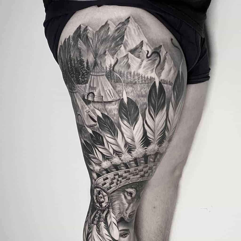 black-gray-realistic-native-leg-sleeve-tattoo-greytonesbyenes