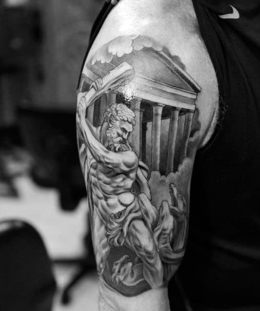 Black Greek God Atlas Tattoo For Men On Arm
