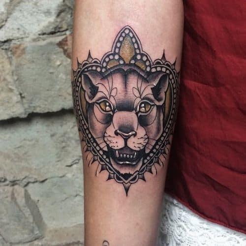 Black Grey Big Cat Lioness Tattoo