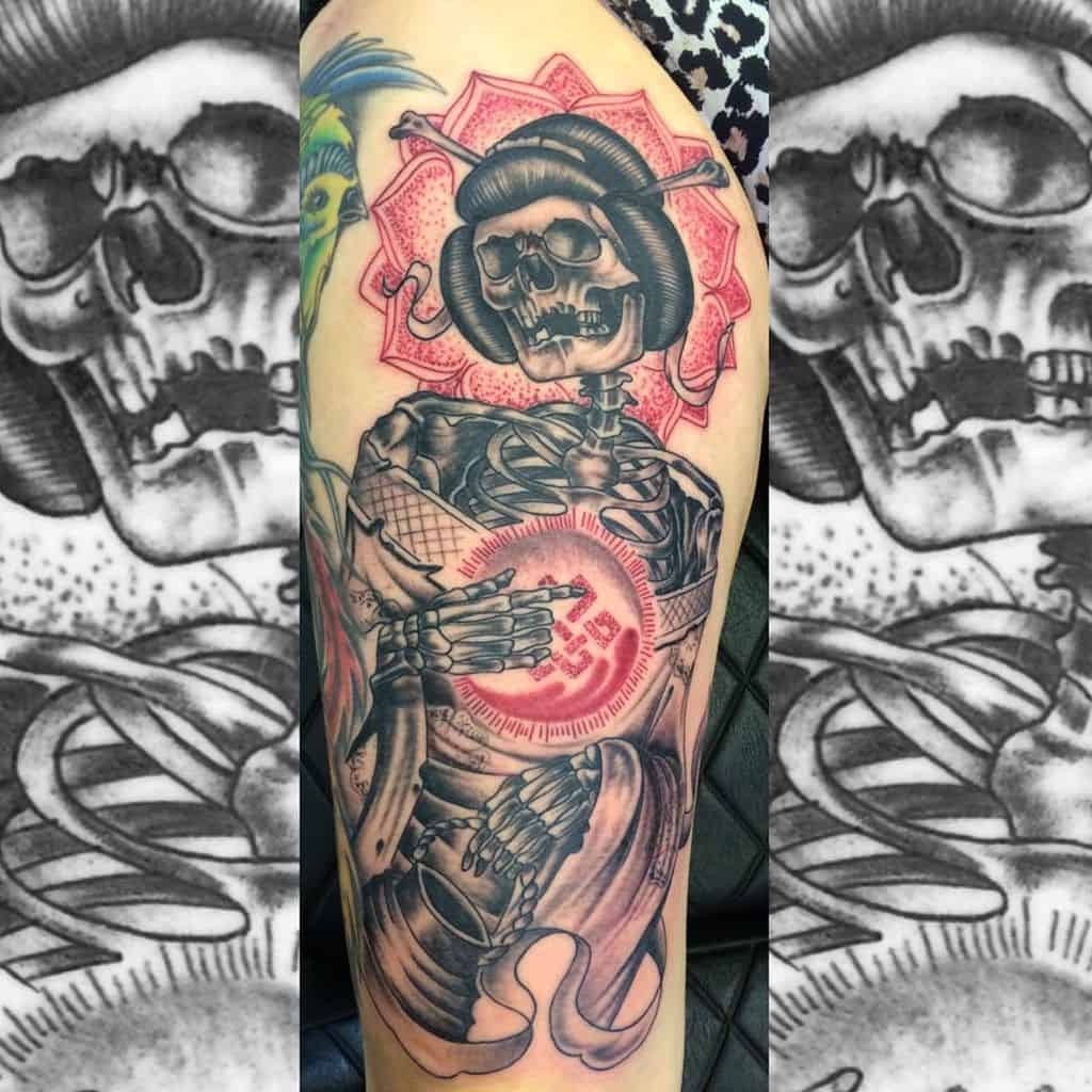 Black Grey Custom Skull Japanese Geisha Tattoo