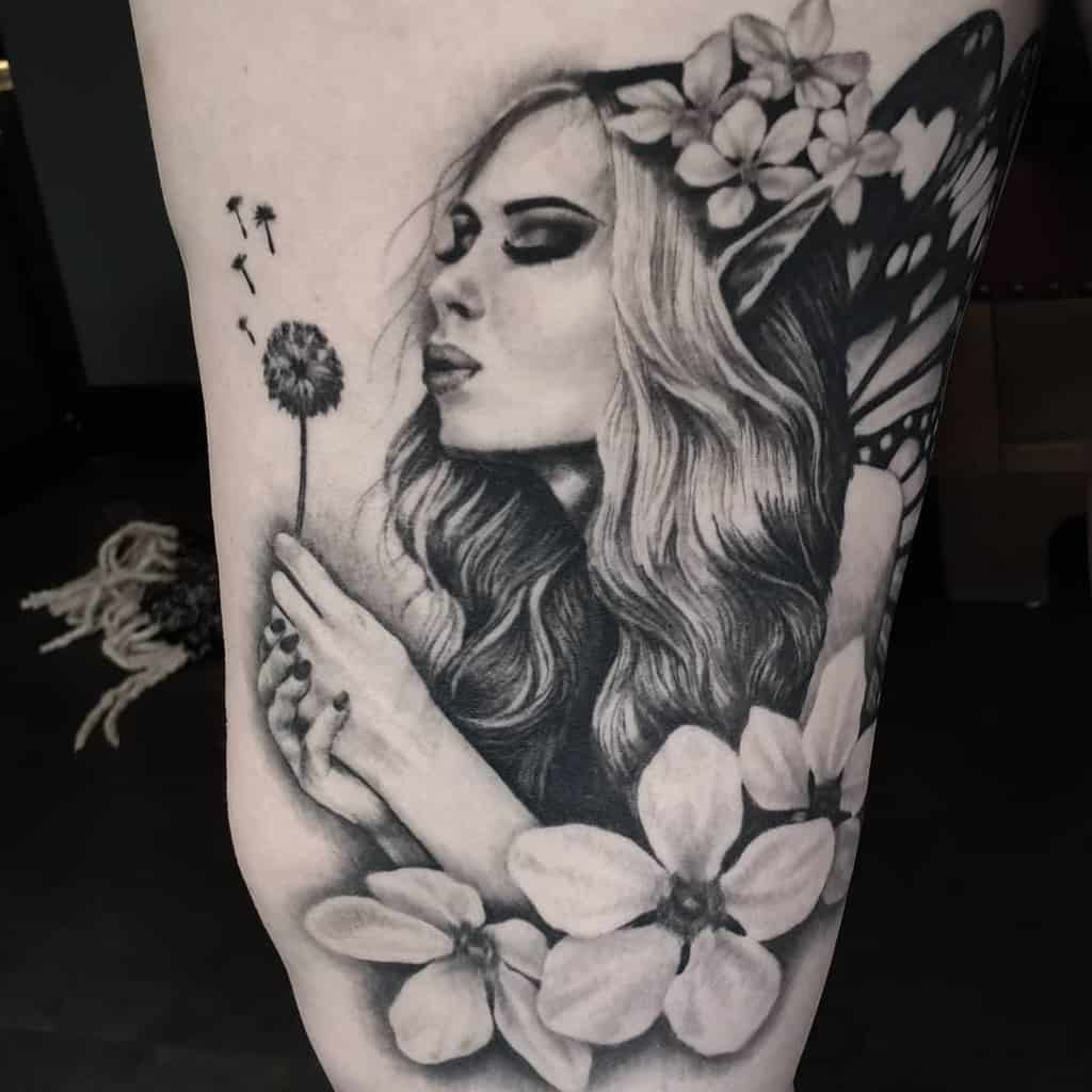 Black Grey Fantasy Kwadron Fairy Tattoo