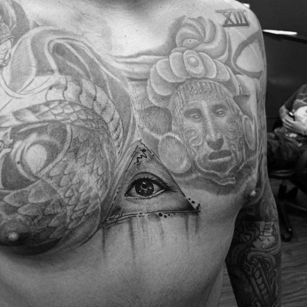 Black Grey Illuminati Tattoo Male Chest