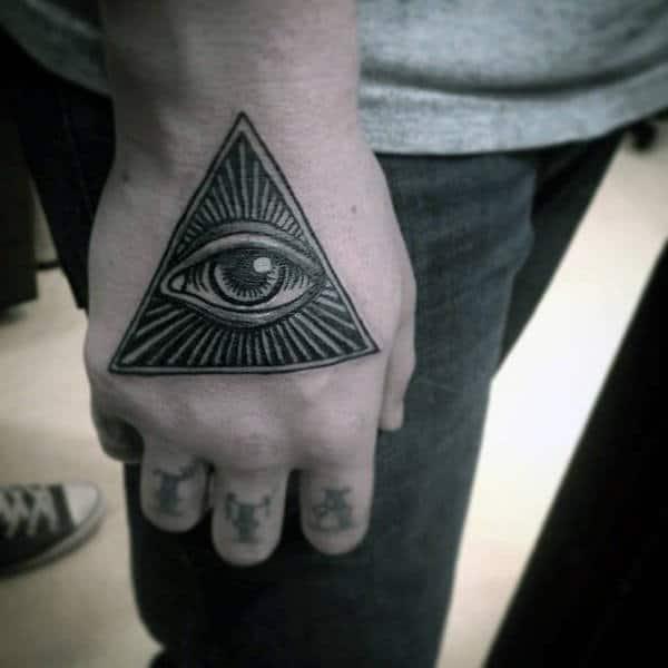 Black Grey Illuminati Tattoo Male Hands