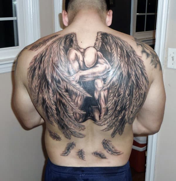 Black And Grey Men's Angel Tattoos On The Back