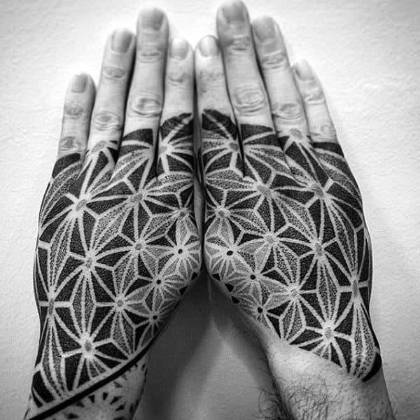 Black Grey Pattern Tattoo Male Hands