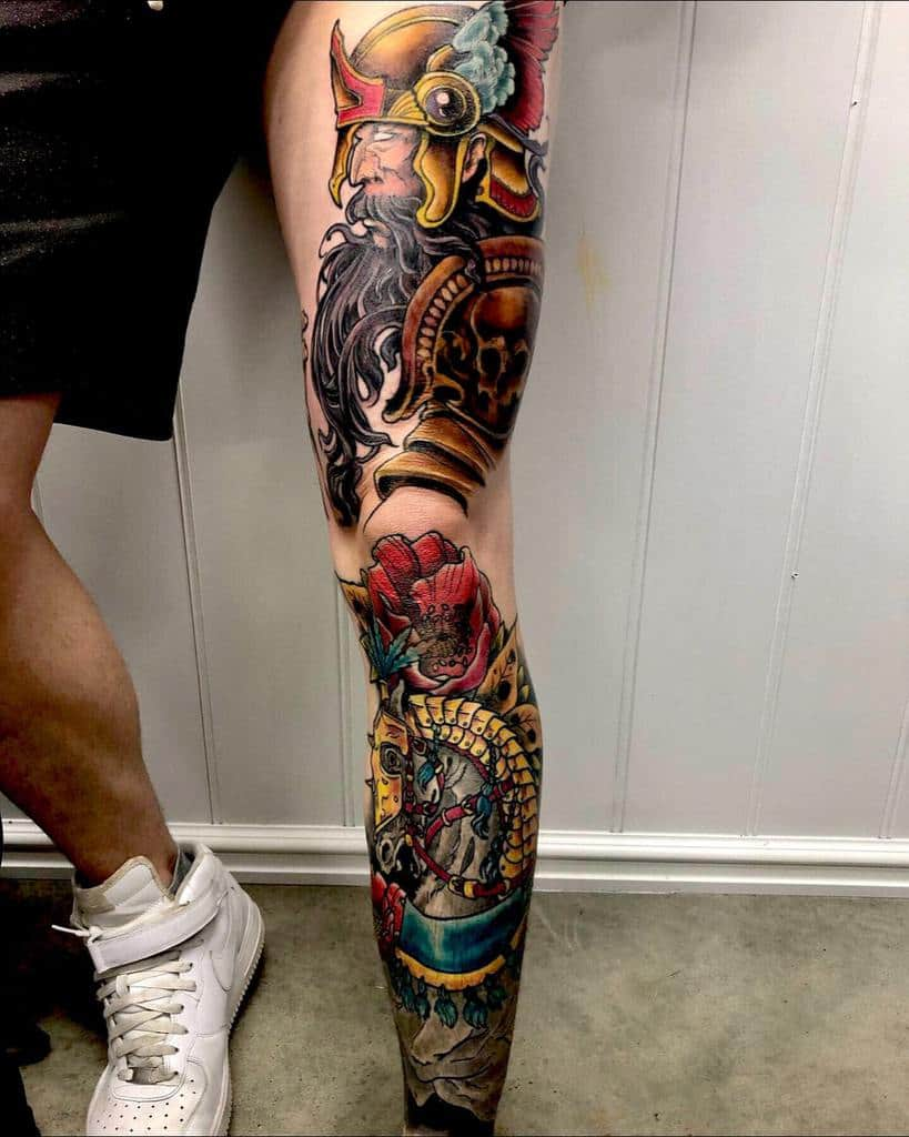 Black grey perth custom sleeve realistic leg tattoo viking
