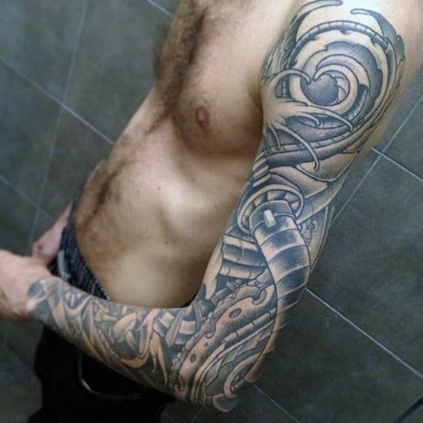 Black Grey Sick Tattoo Male Full Sleeves