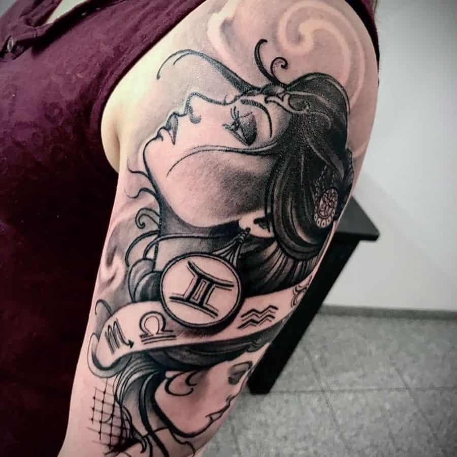 Black Grey Zodiac Female Tattoo