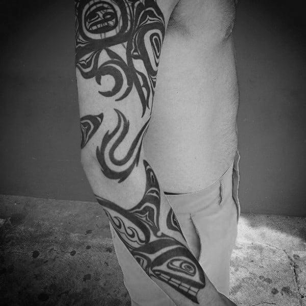 Black Haida Tattoo Mens Full Sleeves