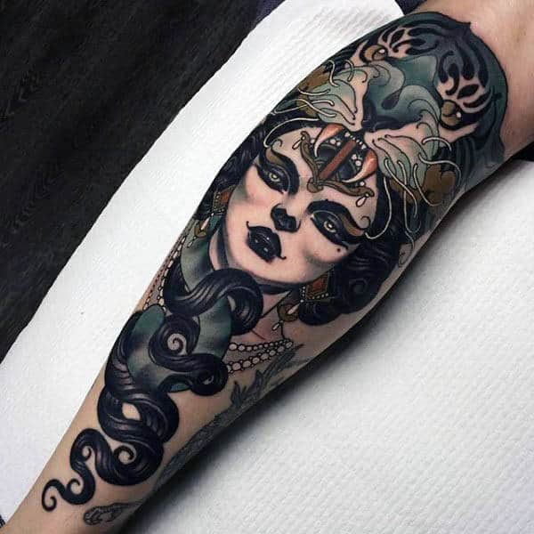 Black Haired Lady And Beast Neo Traditional Tattoo Mens Forearms