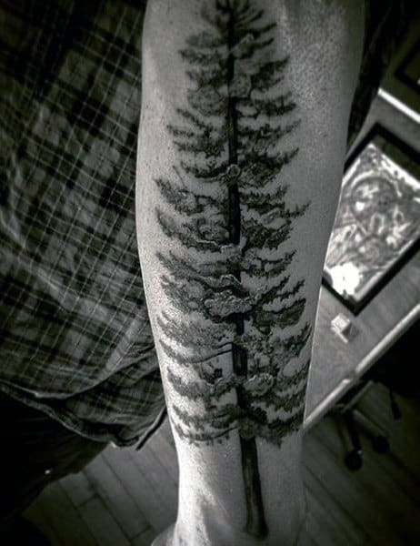 Black Half Arm Men's Pine Tree Tattoo